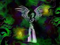 lonely angel wallpaper sad green wings