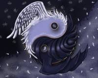 Yin Yang Dark Side Angel Feathers & Bat Wings Wallpaper