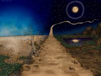 Path Night & Day Moon Footprints Wallpaper