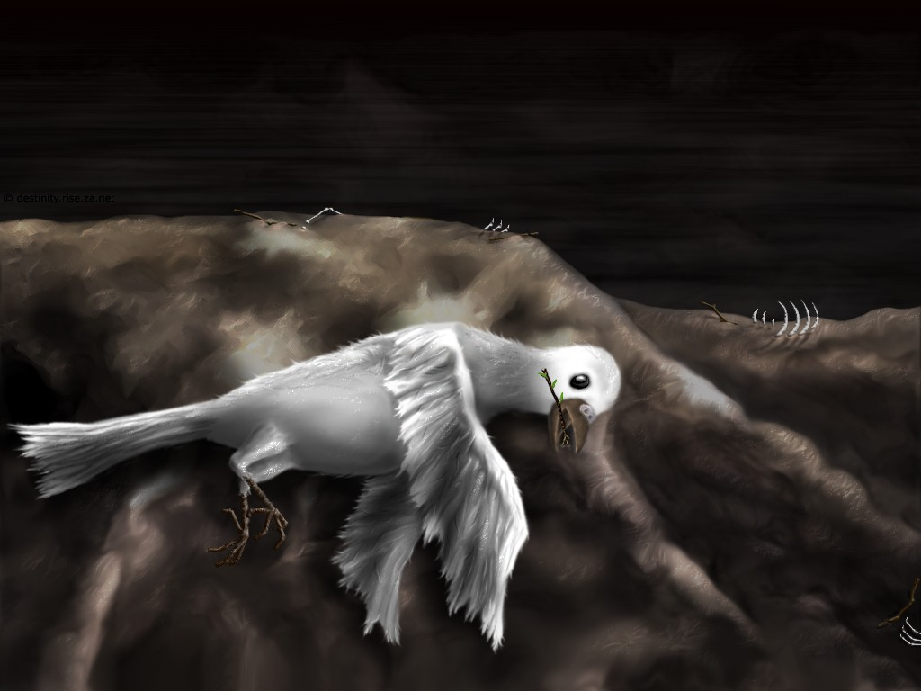 Hope peace dove twig dead death bones skeleton wallpaper art