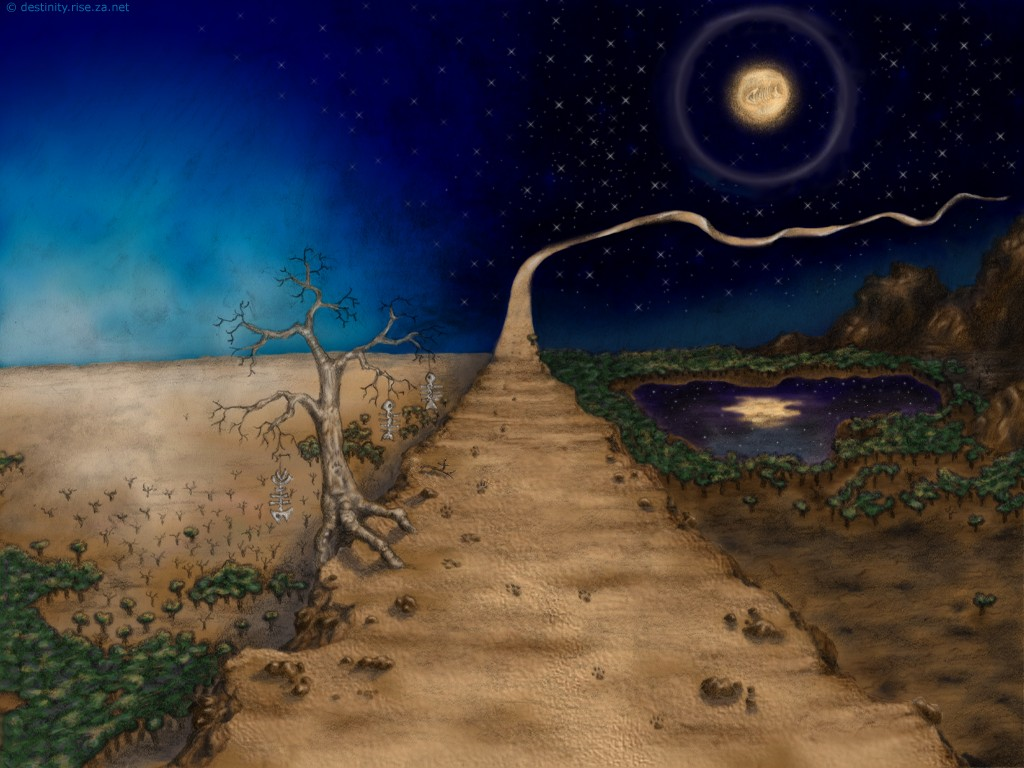 The Path trees footprints day night moon memories wallpaper art