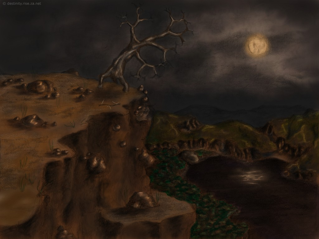 Tree on cliff lake moon forest sketch drawing wallpaper art