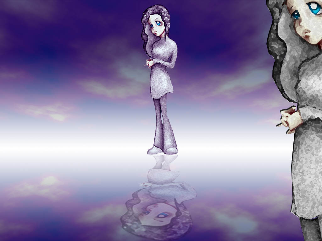 reflective girl  art