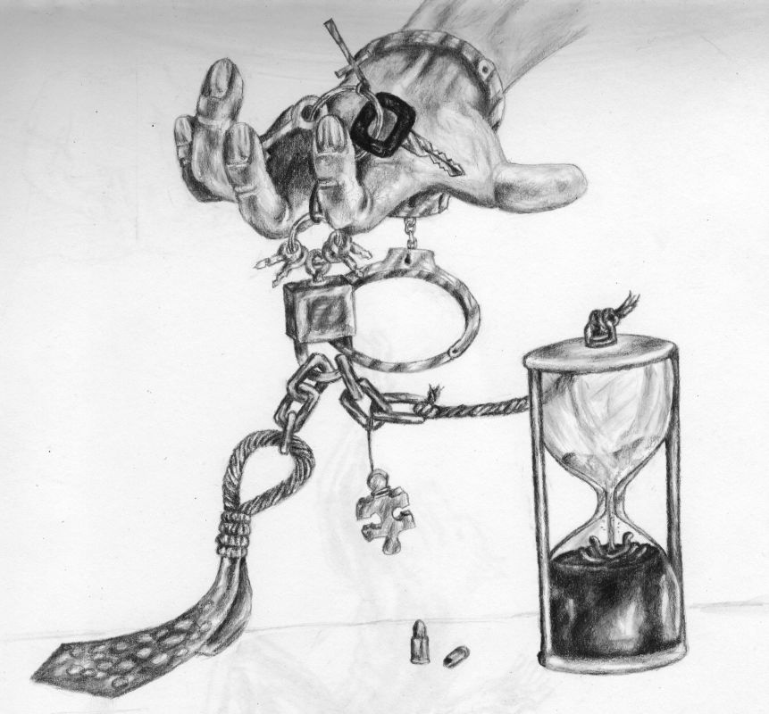 keyring hourglass  art pencil sketch drawing