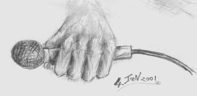 microphone fist  art pencil sketch drawing