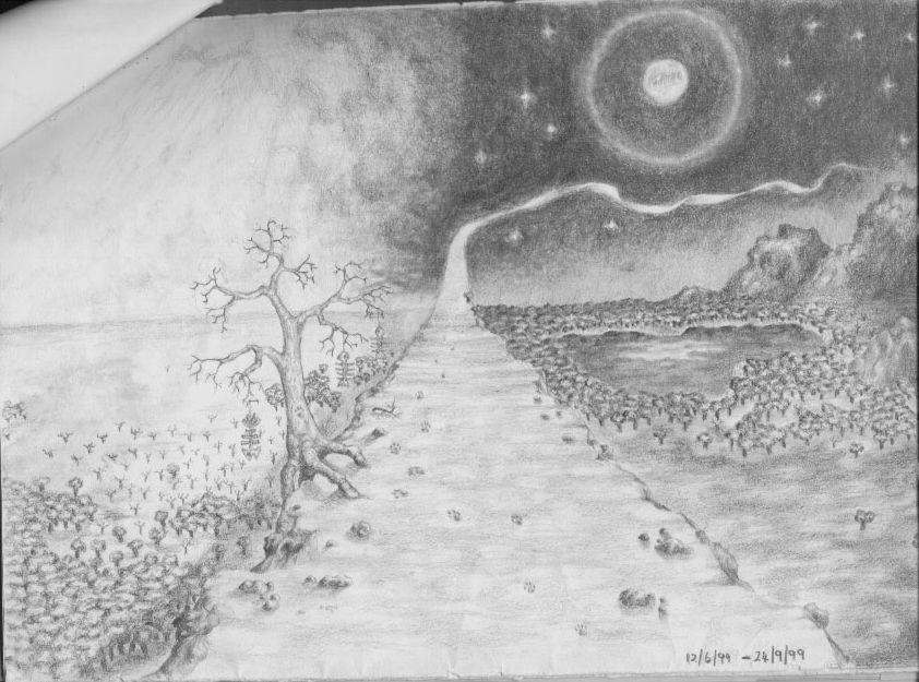 the path landscape  art pencil sketch drawing
