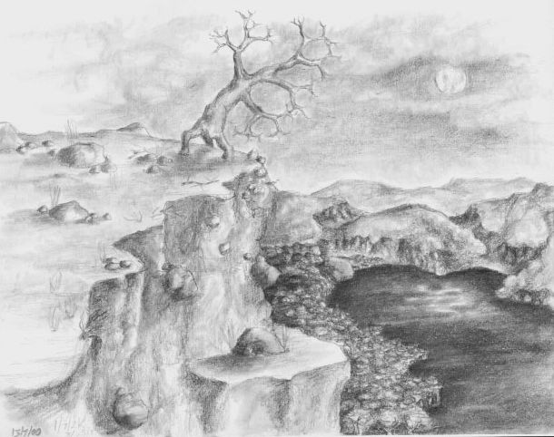 tree cliff moon  art pencil sketch drawing